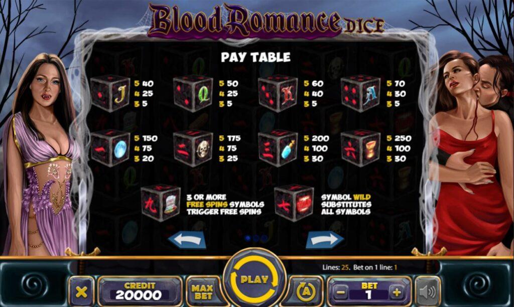 Supergame et Mancala Gaming présentent Blood Romance Dice - Blood Romance Dice pay table