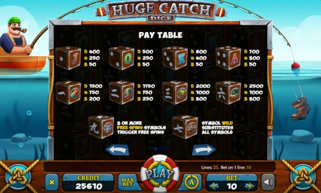 Supergame en Mancala Gaming presenteren Huge Catch Dice - Huge catch Dice pay table