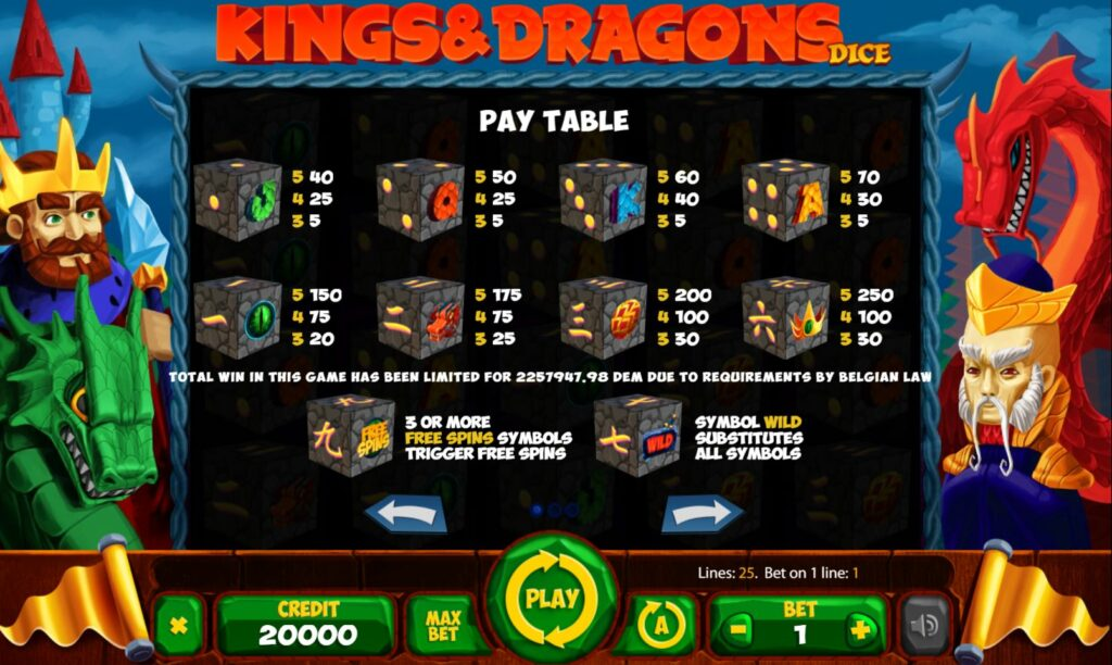 Supergame et Mancala Gaming présentent les dés Kings and Dragons - Mancala Gaming - Kings and dragons dice Pay table
