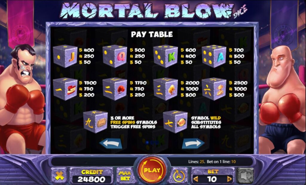 Supergame and Mancala Gaming present Mortal Blow Dice - Mortal Blow Dice pay table