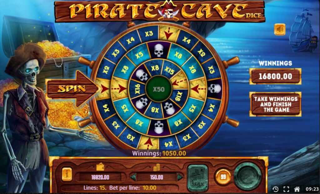 Supergame and Mancala Gaming present Pirate Cave Dice - Pirate Cave DIce Wheel of Fortune