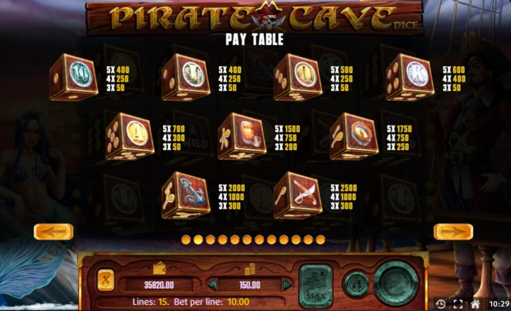 Supergame and Mancala Gaming present Pirate Cave Dice - Pirate Cave DIce pay table