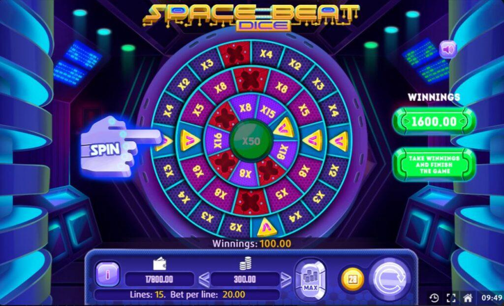 Supergame en Mancala Gaming presenteren Space Beat Dice - Space Beat Dice Wheel of Fortune
