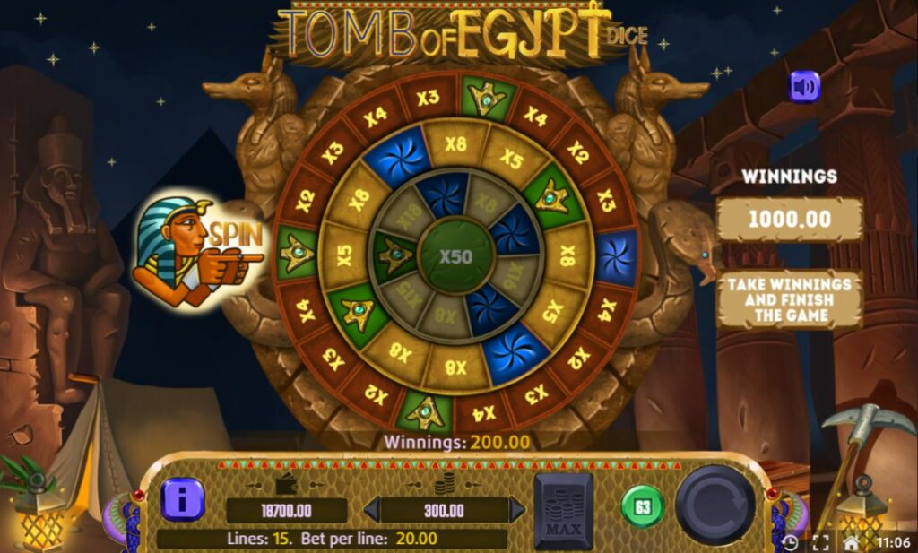Supergame and Mancala Gaming present Tomb of Egypt Dice - Tomb of Egypt dice - Tomb of Egypt dice Wheel of Fortune