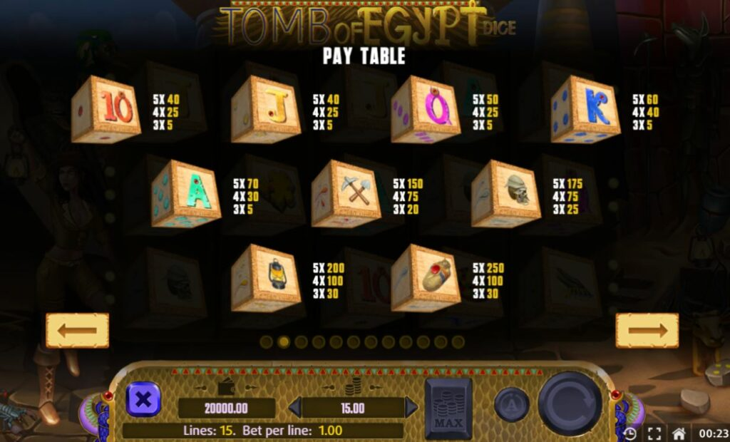 Supergame and Mancala Gaming present Tomb of Egypt Dice - Tomb of Egypt dice pay table