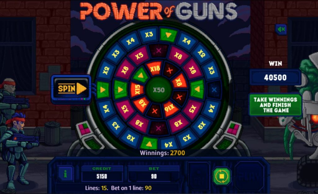 Supergame en Mancala Gaming presenteren Power of Guns Dice - Power of Guns Dice - Wheel of fortune