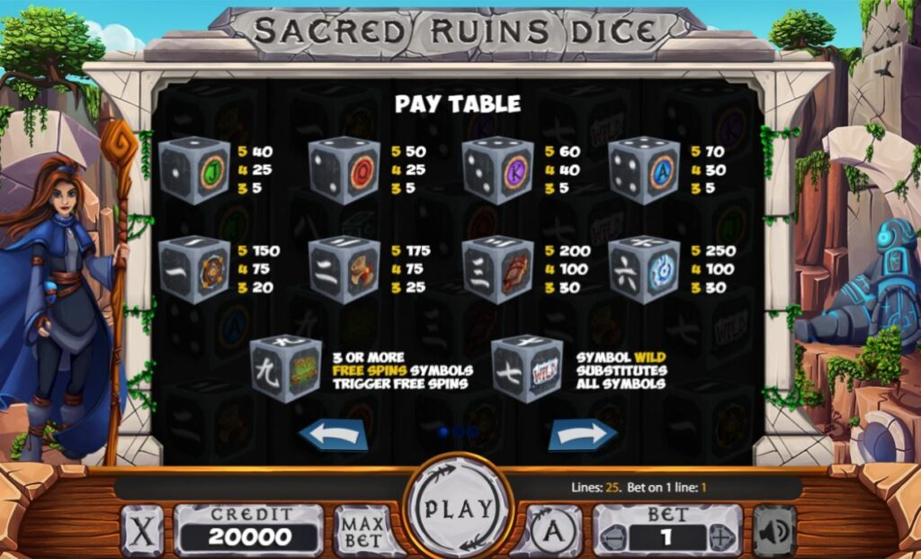 Supergame and Mancala Gaming present Sacred Ruins Dice - Sacred Ruins Dice - Pay table