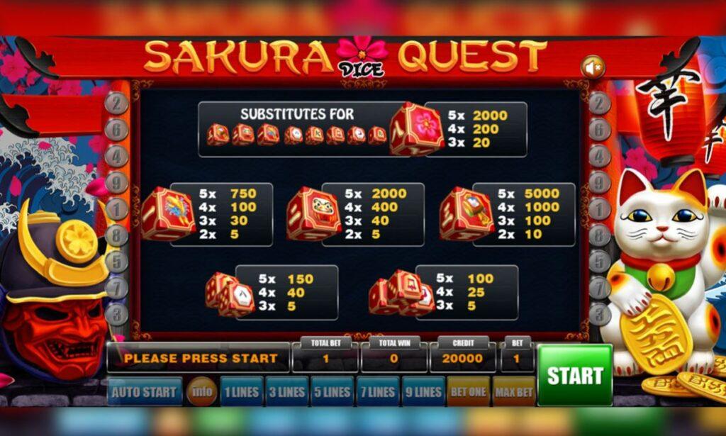 Supergame and Mancala Gaming present Sakura Quest Dice - Sakura Quest Dice - Pay table