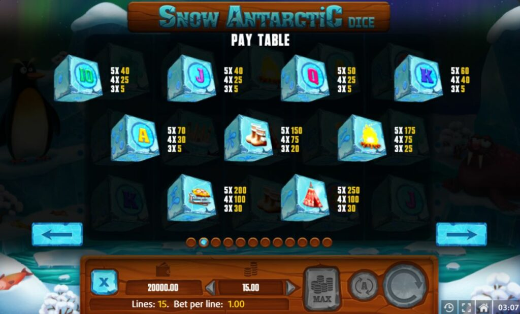Supergame et Mancala Gaming présentent Snow Antarctic Dice - Snow Antarctic Dice - Pay table