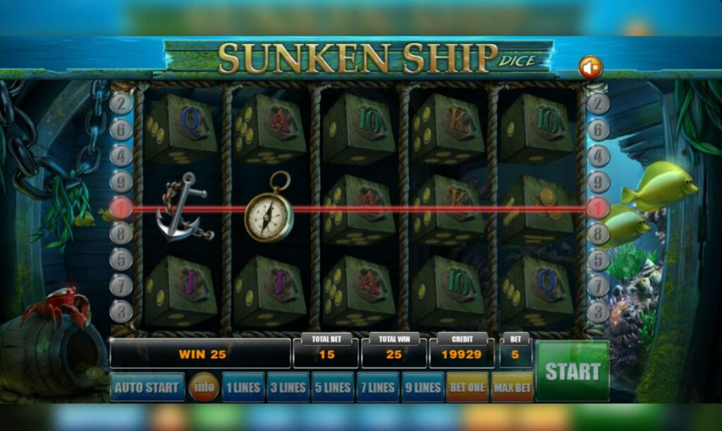 Supergame en Mancala Gaming presenteren Sunken Ship Dice - Sunken Ship Dice - Pay table